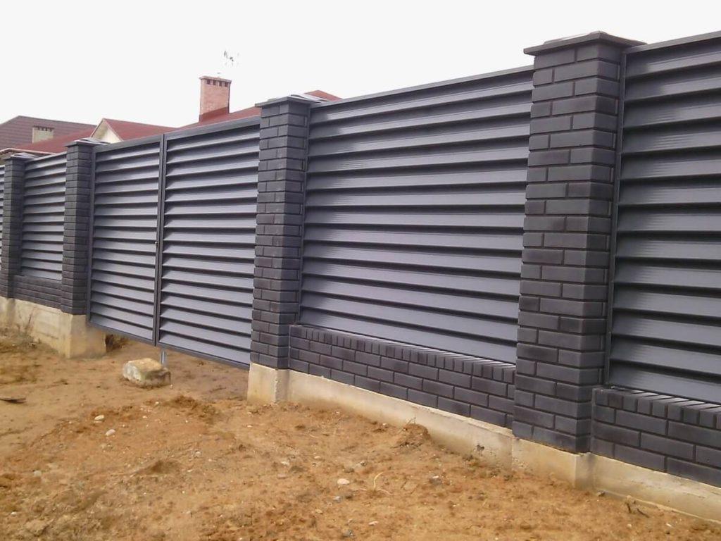 забор из горизонтального штакетника черный в москве