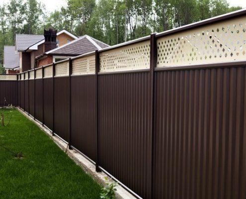 модульный забор коричнево-бежевый
