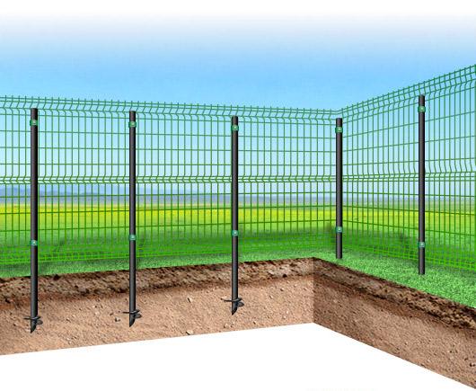 решетчатый забор на винтовых сваях
